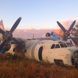 A crashed Russian airplane relic of the Angolan civil war